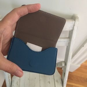 Credit card case blue magnetic synthetic leather